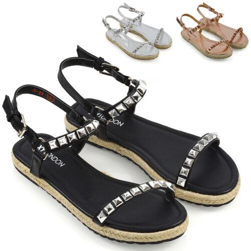 Womens Flat Strappy Studded Espadrilles Ladies Platform Summer Holiday Sandals