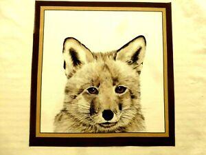 Christmas Fox Cub Printed Fabric Panel Make A Cushion Upholstery Craft