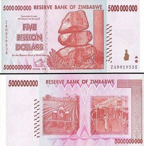 Image Is Loading 5 Billion Zimbabwe Dollar Za 2008 Money Currency