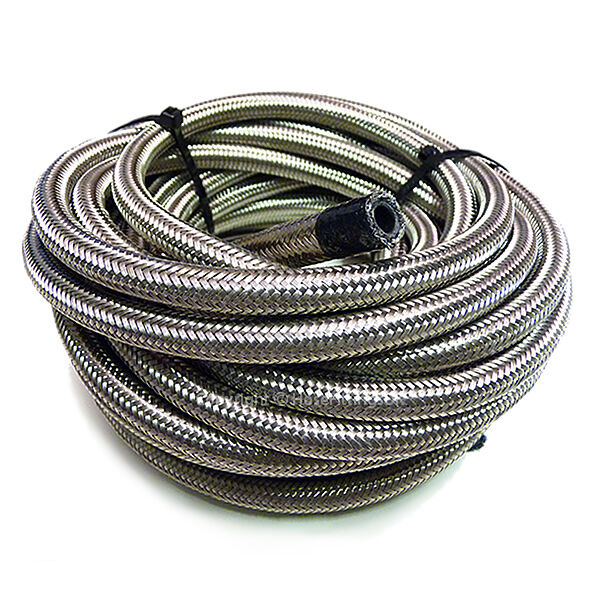"""AN -8 AN8 7/16"""" 11MM Stainless Steel Braided RUBBER Fuel Oil Hose Pipe 1 Metre"""