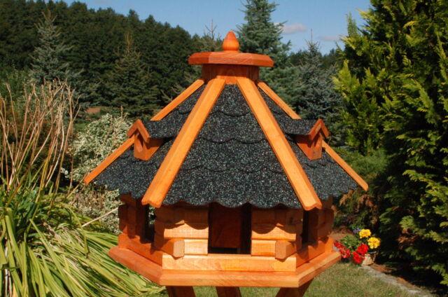 * Riesiges XXL Vogelhaus Vogelvilla Futterhaus mit Ständer 67x45cm Dach rot