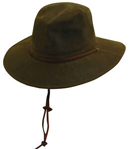 NEW BROWN OIL CLOTH HAT S or M    ALL WEATHER RAIN UPF50 OUTBACK ... 08a911d4ea56