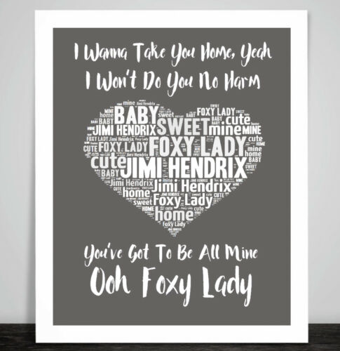Jimi Hendrix FOXY LADY MUSIC LOVE SONG Lyric Heart Framed Art Imprimé Cadeau Mariage