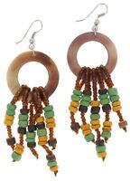Pierced Earrings Wood Bead Brown Yellow Green Tribal Chandelier 3 1/4