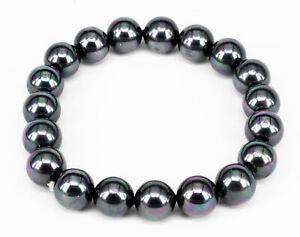 Perlen Armband Muschelkern Perlen Armband Damen 19cm petrol 10mm Kugelarmband