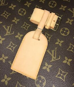 Authentic-Louis-Vuitton-Leather-Name-ID-Tag-w-Strap-Lock-amp-Key-One-Set