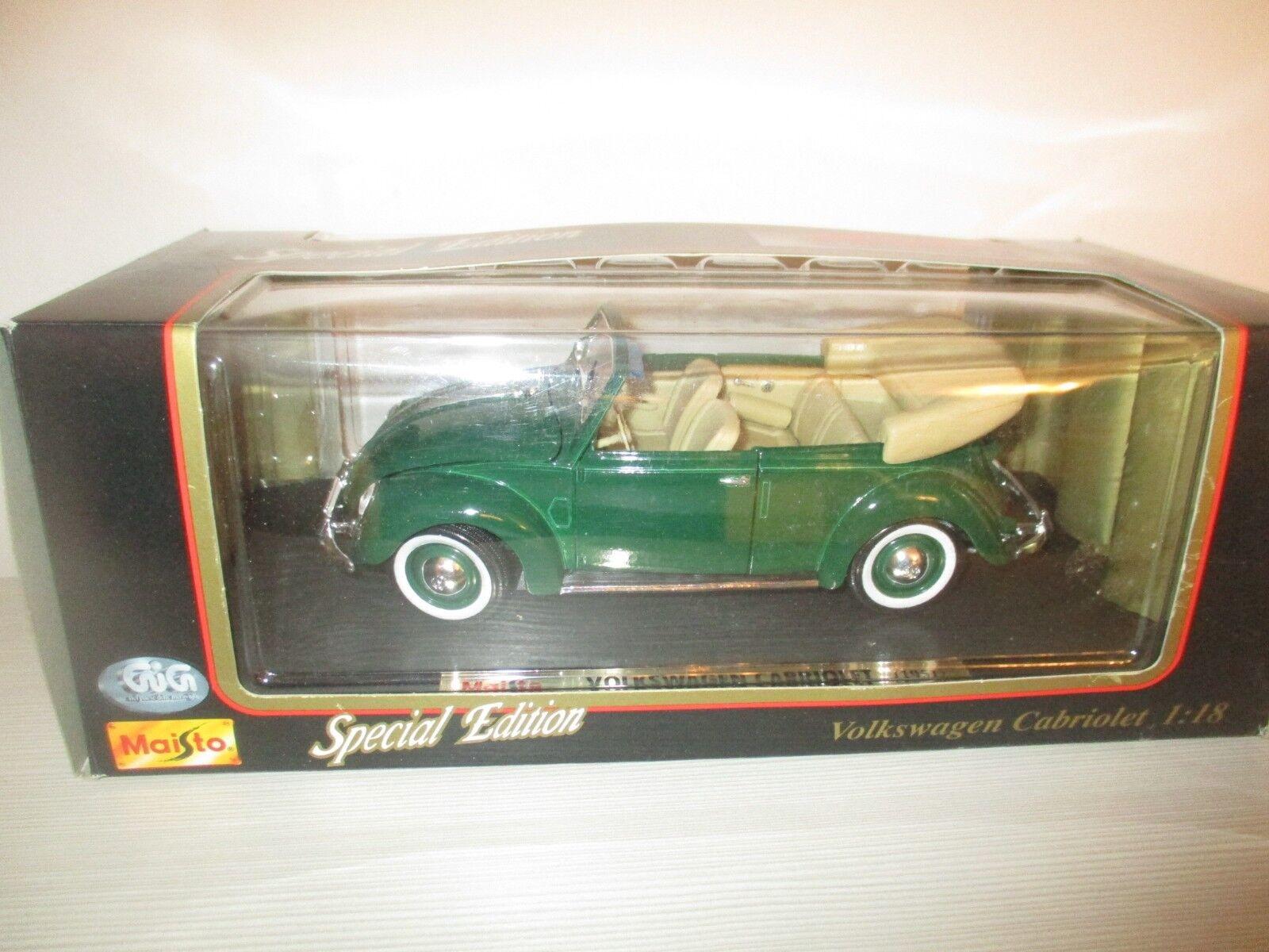 VOLKSWAGEN CABRIOLET 1951 SCALA 1 18 verde SCURO
