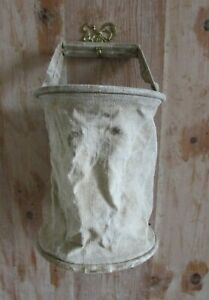 Unusual-Antique-French-Army-Chanvre-Linen-Collapsible-Bucket