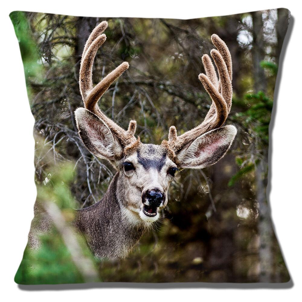 """Novedad Stag Deer Woodland Foto Impresión Divertida Sonrisa 16/"""" Almohada Cojín Cubierta"""