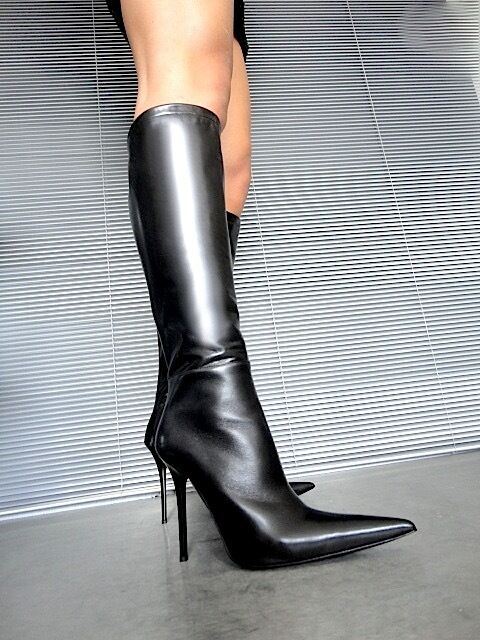GIOHEL ITALY POINTY KNEE LEATHER HIGH BOOTS STIEFEL STIVALI REAL LEATHER KNEE BLACK NERO 38 e5f130