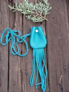 Turquoise-blue-leather-medicine-bag-with-fringe-Blue-leather-neck-pouch