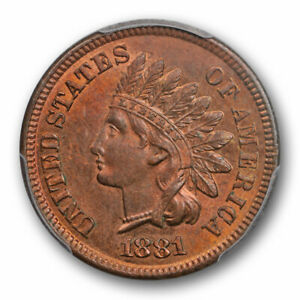 1881-1C-Indian-Head-Cent-PCGS-MS-64-RB-Uncirculated-Red-Brown-Attractive