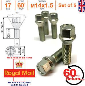 10 X M12X1.5 65 mm Largo Negro 40 mm Hilo de aleación Pernos De Rueda Mercedes 60 ° 66.