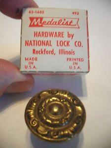 Vintage NOS Round Antique Ornate Brass Knobs Drawer Pulls Cabinet Door Handles
