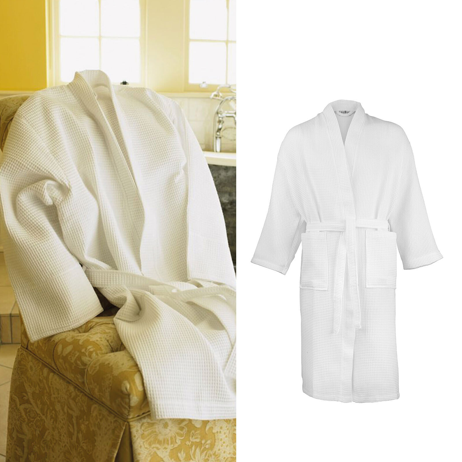 Towel City Cotton Waffle Robe (TC086) - Kimono Style Unisex Dressing Gown