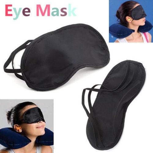 Masque Yeux Voyage Noir-Masques de sommeil dormir relaxant l/'aveugle eyemask UK vendre