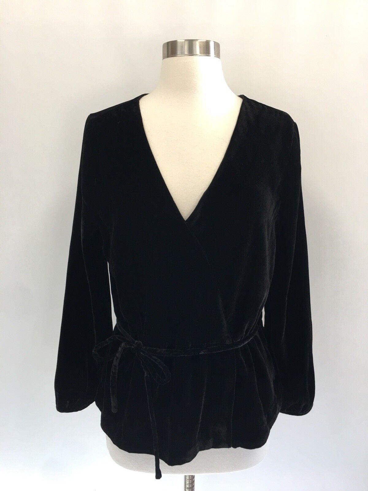 J CREW Faux Wrap Top chemisier en drapée de velours noir Taille 10 J4962 NEUF