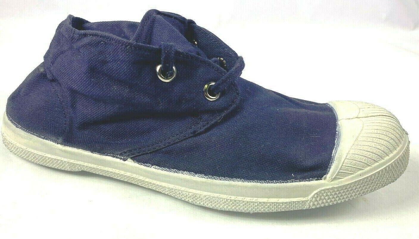 *** NOUVEAU *** BENSIMON chaussures de tennis bleu marine à Lacets Toile