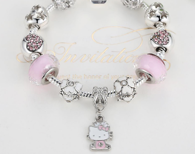 Hallo Kitty Pink Heart Enamel Flowers Charms Kids Girls Bracelet Birthday gift