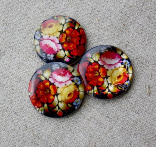 Shell printed double sided beads with flowers 30mm pack of 5