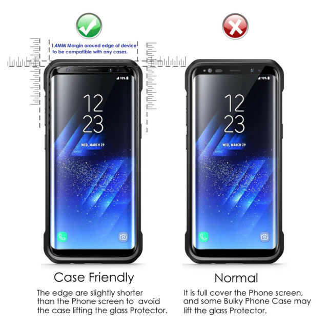 outlet store ea974 b8738 Samsung Galaxy S8 Case Friendly 4d Clear HD Tempered Glass Screen Protector