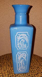 Vintage-Glass-Jim-Beam-Liquor-Bottle-Shepherd-Dog-Blue-Slag-1965
