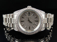 18K White Gold Mens Steel Simulated Iced Diamond Presidential Watch 41MM PR-01