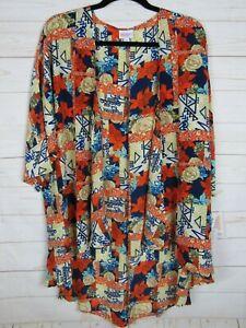 Lularoe-Donna-Lindsay-Blu-Arancione-amp-Crema-Floreale-Kimono-Taglia-M-Nuovo-con-etichette