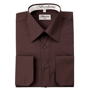 Berlioni-Italy-Men-039-s-Convertible-Cuff-Solid-Italian-French-Dress-Shirt-Brown