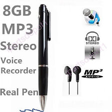 8GB Digital Audio Voice Recording Spy Pen MP3 Player USB Drive Stereo Dictaphone
