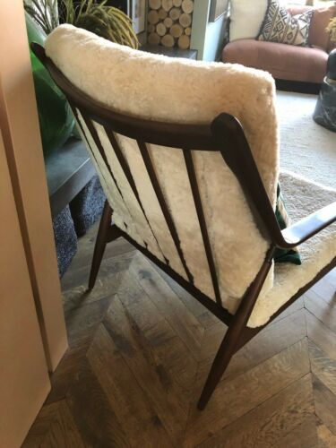 Mid Century Fully Refurbished Cream Curly Sheepskin Wooden Lounge Chair