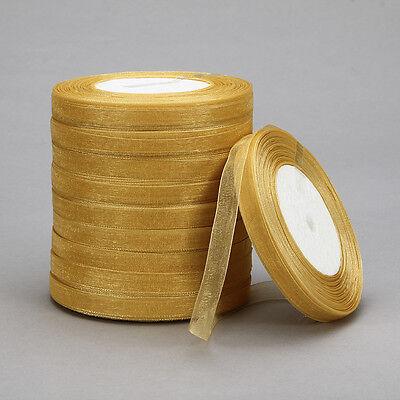"100 Yards 3/8""20mm Satin Edge Sheer Organza Ribbon Bow Craft Wedding t-13"