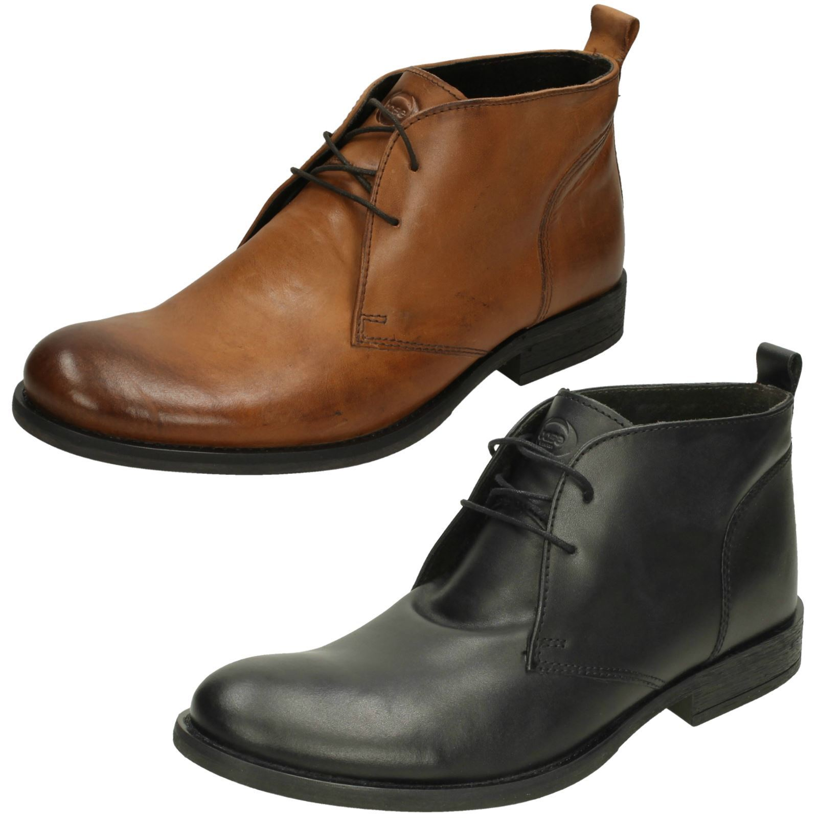 Mens Base London Formal Ankle Boots Teak