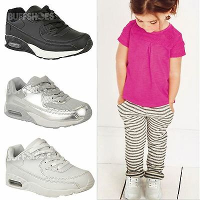Girls Kids Trainers Lace Up Sneakers Running Sports Pumps Gym Fashion Shoes Size