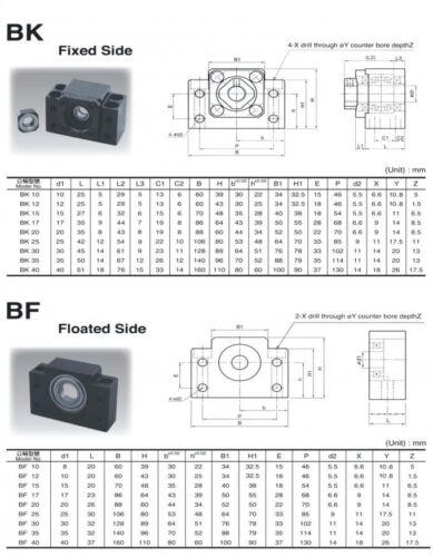 16mm ballscrew RM1605-350mm+BKBF12 end bearing+1 set SBR20 linear slide rail CNC