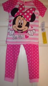 3/t N/w/t $38.00 Cute Fast Deliver Disney~girl's~minnie/mouse/see/ya/hot/pink/pajama/set! Easy To Use