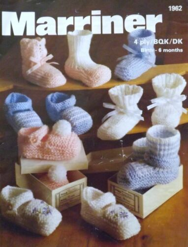 Vintage Knitting Pattern Baby Bootees and Shoes 4ply//BQK//DK 0-6 Months M1962