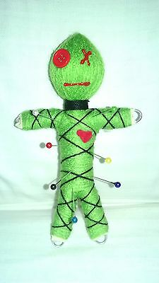"Authentic Voodoo doll ""Mascot"" Green real 7 pins guide karma keepers new orleans"