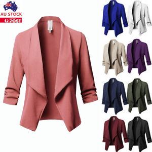 Plus Size Women Waterfall Cardigan Ladies 3/4 Sleeve Blazer Suit Jacket Coat