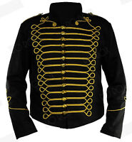 Black Gold Steampunk Emo Punk Goth MCR Officier Military Drummer Parade Jacket