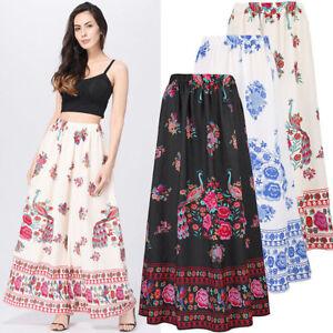 Womens Long Maxi Skirt Printed Plain Cotton Jersey Casual Fashion Summer Boho
