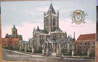 Irish Postcard CHRIST CHURCH Cathedral DUBLIN Chas Reis City Arms FF&Co Ireland