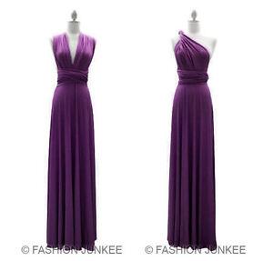 L2-DUSTY-PURPLE-MULTI-WAY-Dress-Convertible-Bridesmaid-Maxi-Full-Length-S-M-L-XL