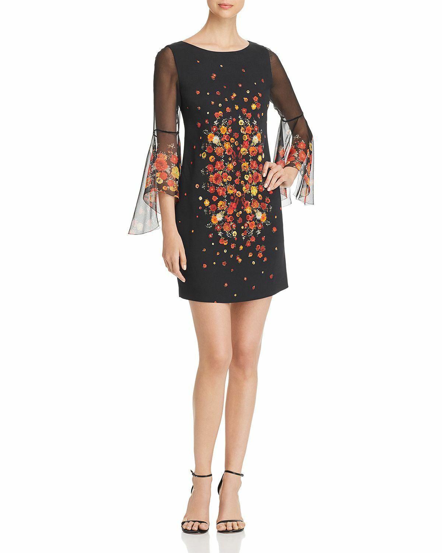 Elie Tahari Esmarella Floral Print Bell Sleeve Dress  Größe 8 A 220 Blm
