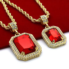 "Men's 14k Gold Plated High Fashion 2 Pieces Ruby Set 4mm 30"" & 24"" Rope chains"