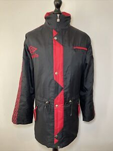 Umbro Vintage Retro 90's Manchester United Black Red Managers Long Jacket Coat M
