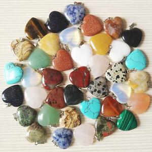 Beautiful-Reiki-Chakra-Heart-Shaped-Stones-Beads-Charm-Necklace-Pendant-Jewelry