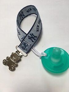 NEW YORK YANKEES Ribbon Pacifier holder clip strap binky paci leash MLB Handmade