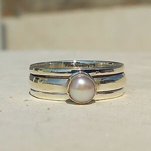 Pearl-Stone-925-Sterling-Silver-Spinner-Ring-Meditation-Statement-Jewelry-A58
