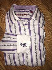 Men's ROBERT GRAHAM Flip Cuff Purple White Lines Button Shirt Long Sleeve M/L